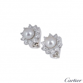 Cartier Platinum Diamond And Pearl Earrings